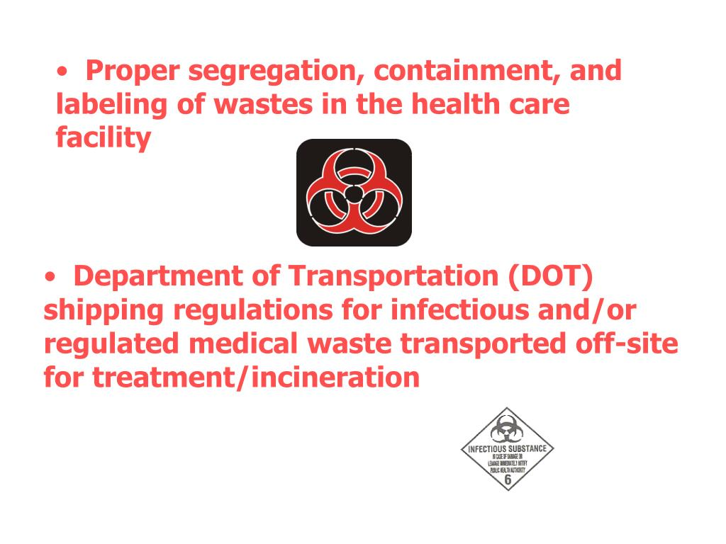 Proper segregation, containment, and labeling of wastes in the health care facility
