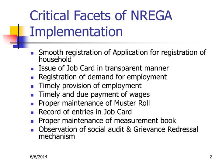 Critical facets of nrega implementation