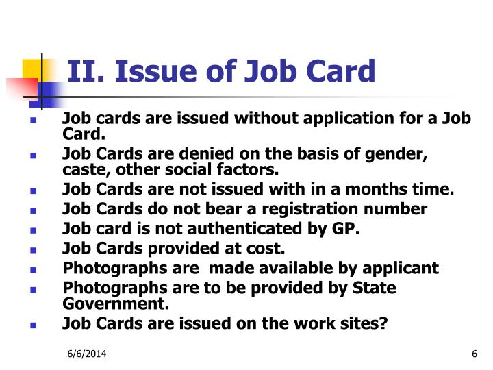 II. Issue of Job Card