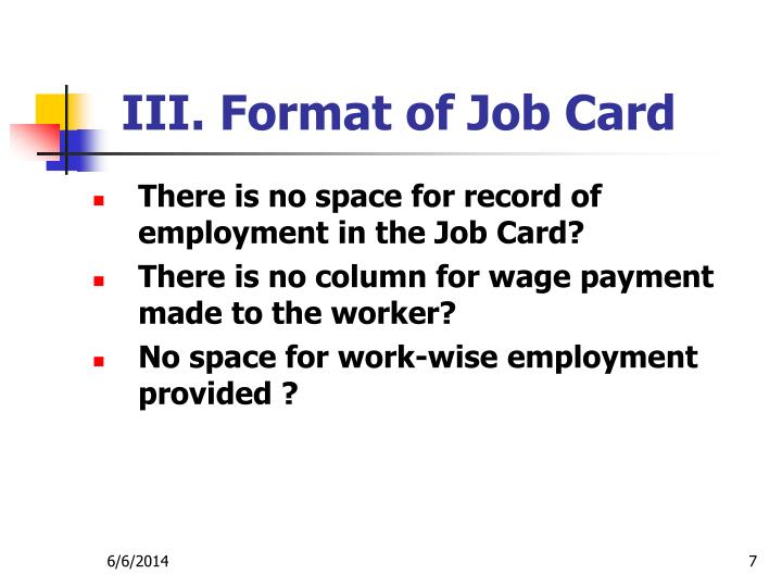 III. Format of Job Card