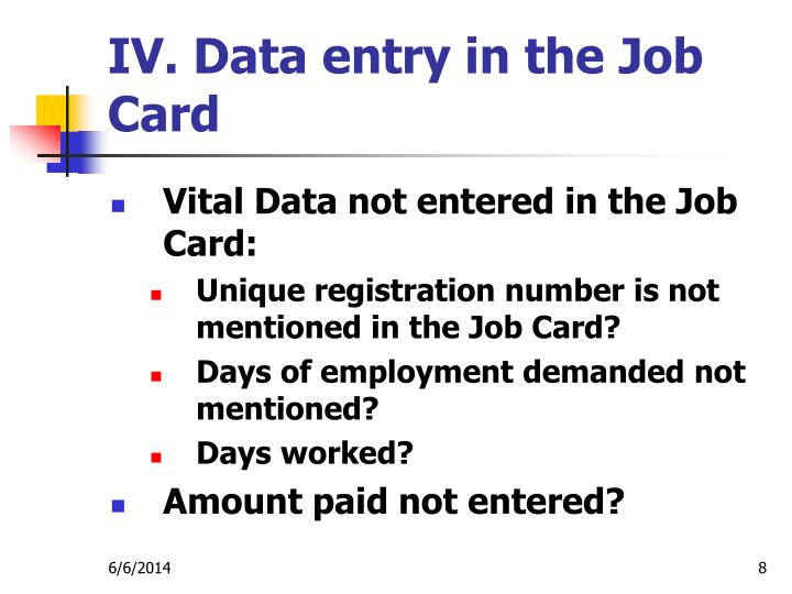 IV. Data entry in the Job Card