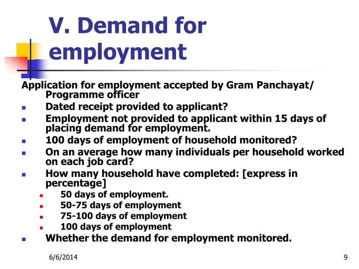 V. Demand for employment
