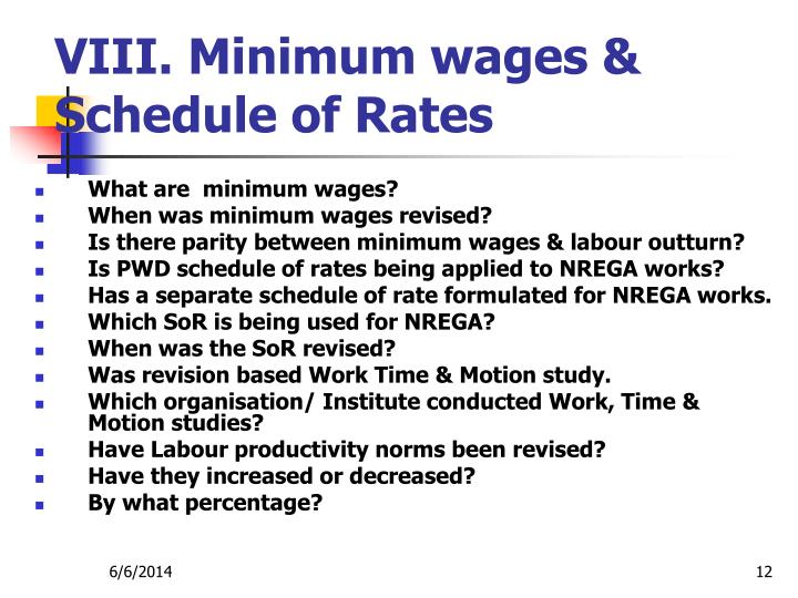 VIII. Minimum wages & Schedule of Rates