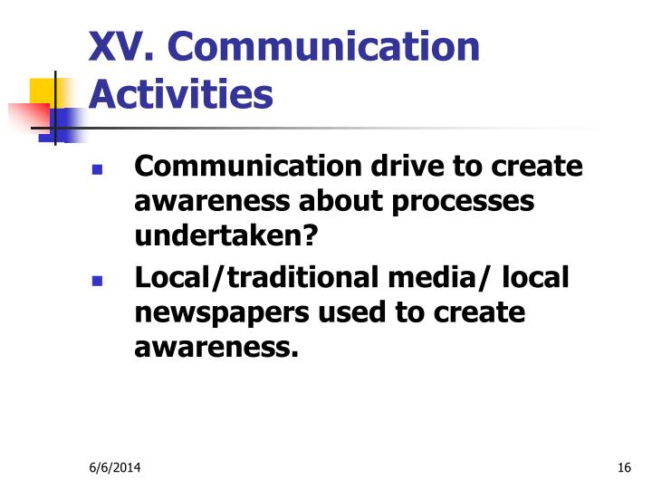 XV. Communication