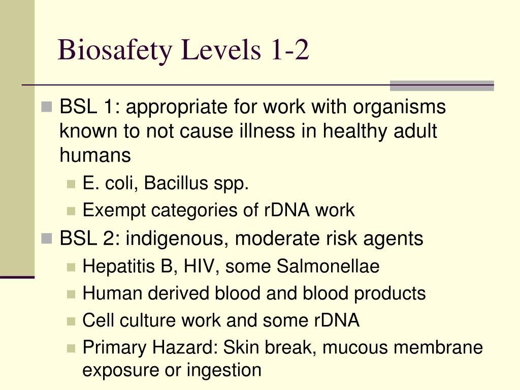 Biosafety Levels 1-2