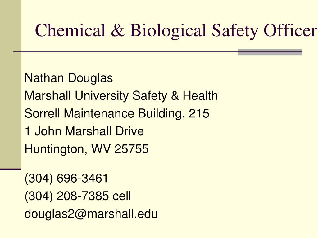 Chemical & Biological Safety Officer