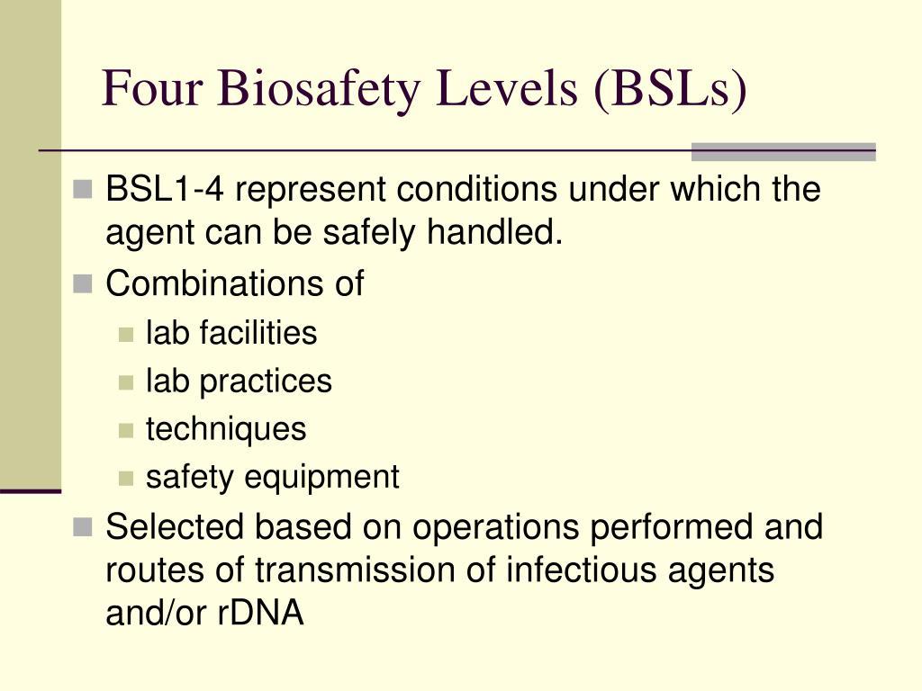 Four Biosafety Levels (BSLs)