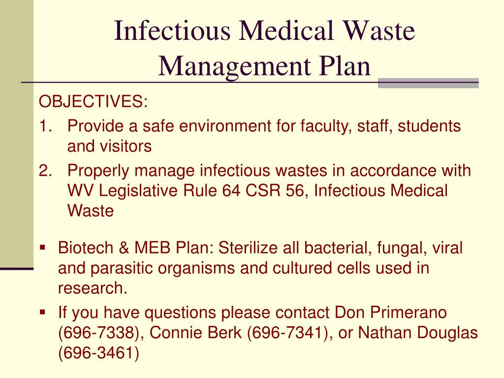 Infectious Medical Waste Management Plan