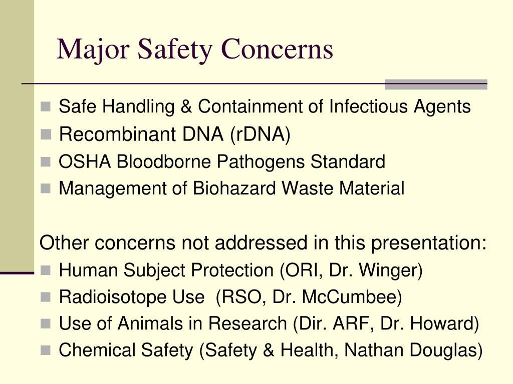 Major Safety Concerns