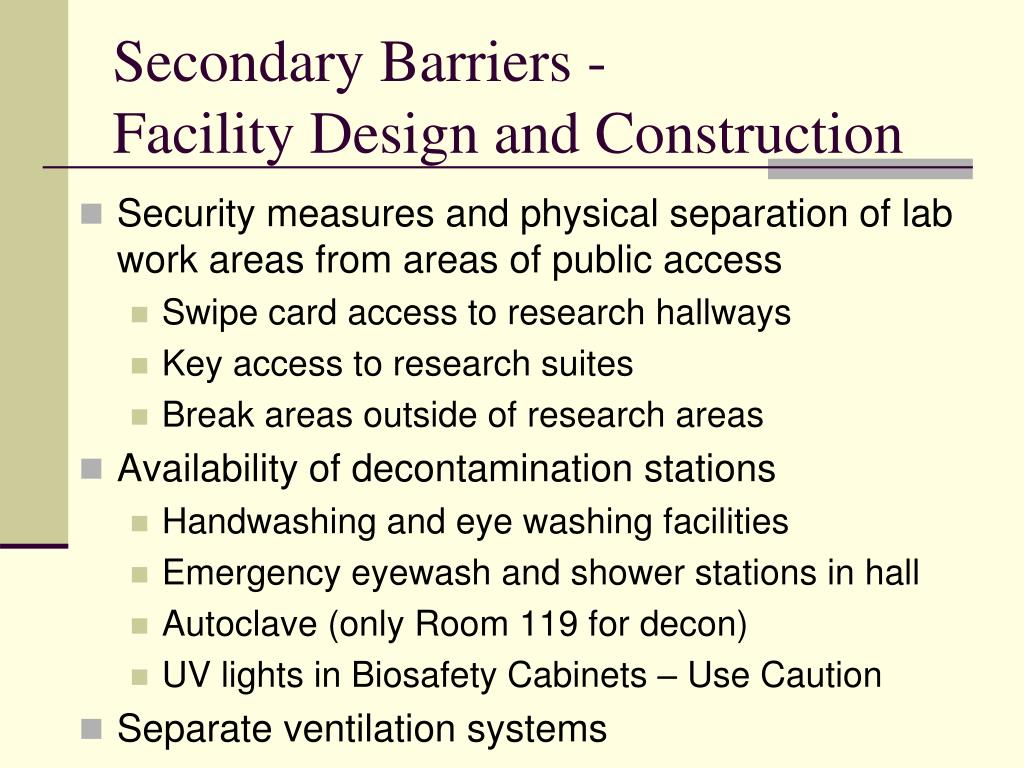 Secondary Barriers -