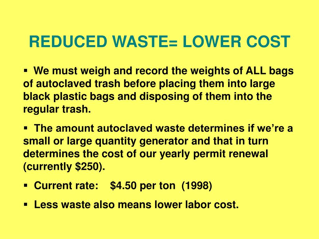 REDUCED WASTE= LOWER COST