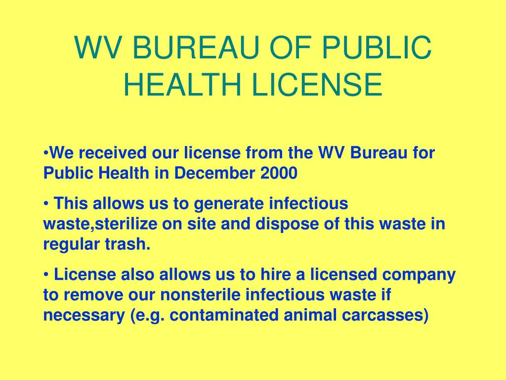 WV BUREAU OF PUBLIC HEALTH LICENSE
