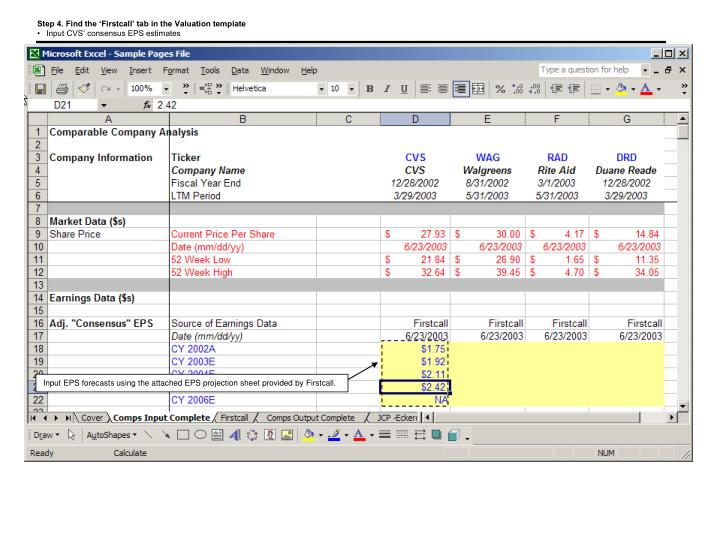 Step 4. Find the 'Firstcall' tab in the Valuation template