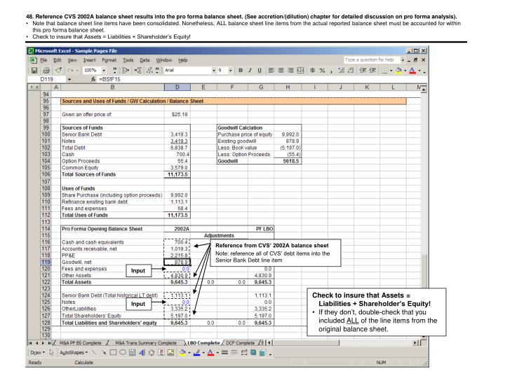 48. Reference CVS 2002A balance sheet results into the pro forma balance sheet. (See accretion/(dilution) chapter for detailed discussion on pro forma analysis).
