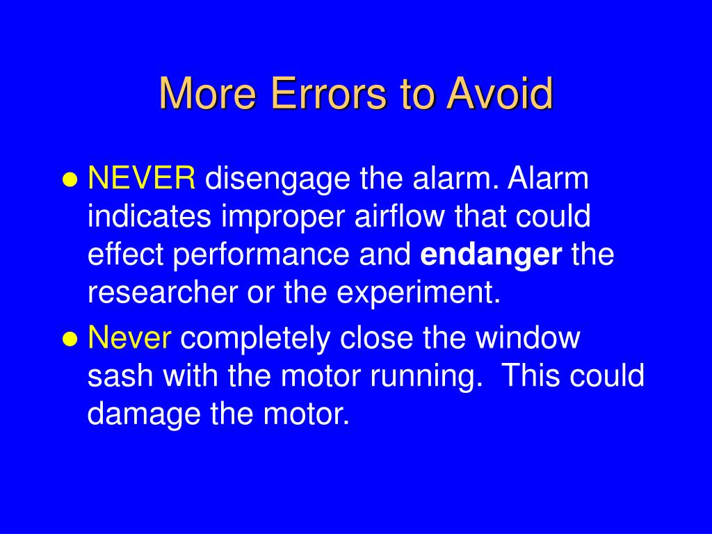 More Errors to Avoid