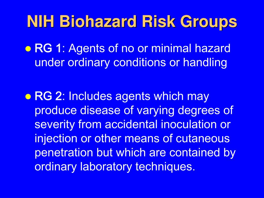 NIH Biohazard Risk Groups