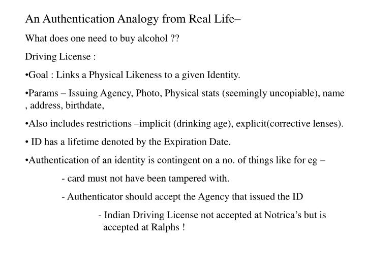 An Authentication Analogy from Real Life–