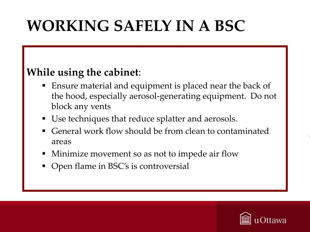 WORKING SAFELY IN A BSC