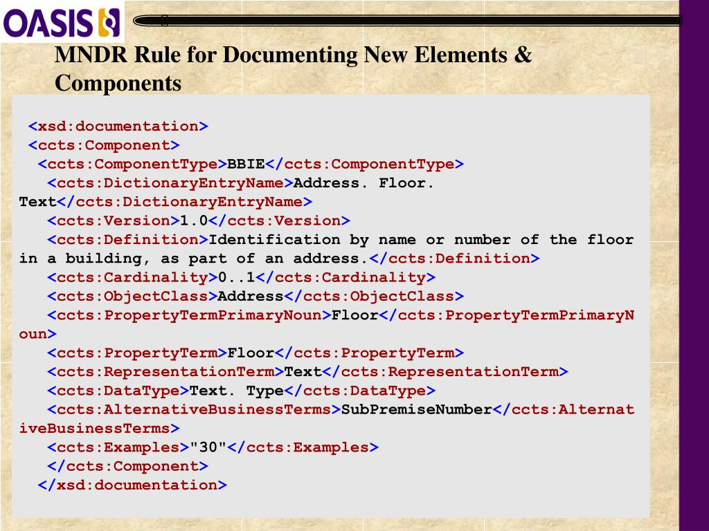 MNDR Rule for Documenting New Elements & Components