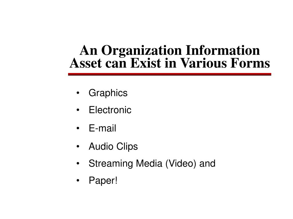 An Organization Information Asset can Exist in Various Forms