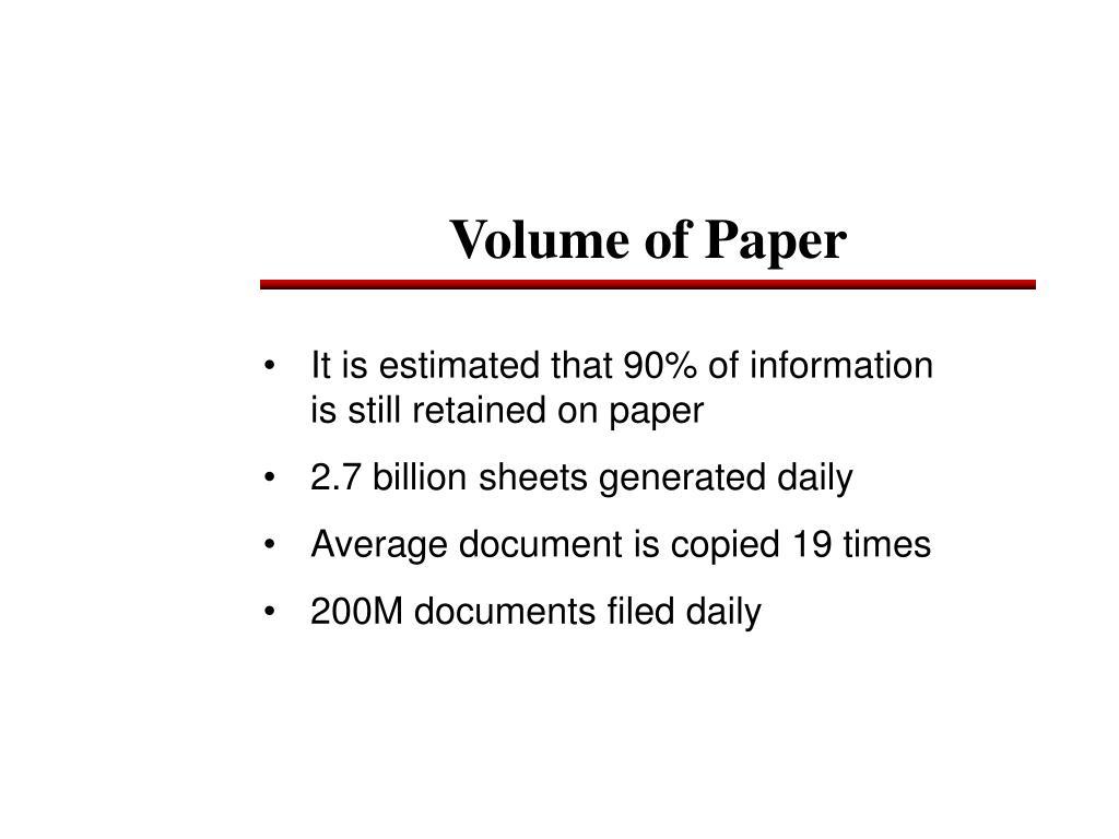 Volume of Paper