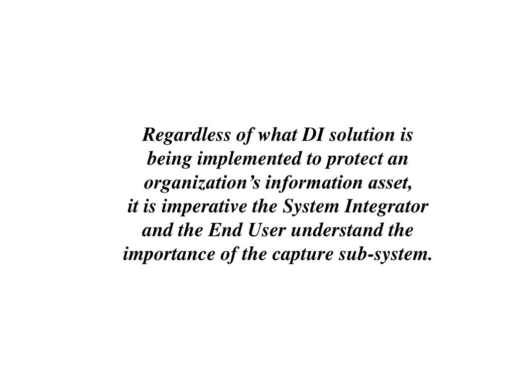 Regardless of what DI solution is