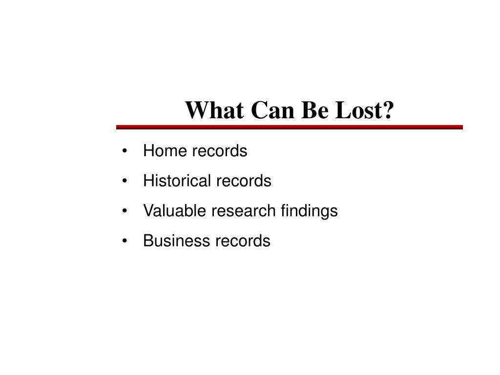 What Can Be Lost?