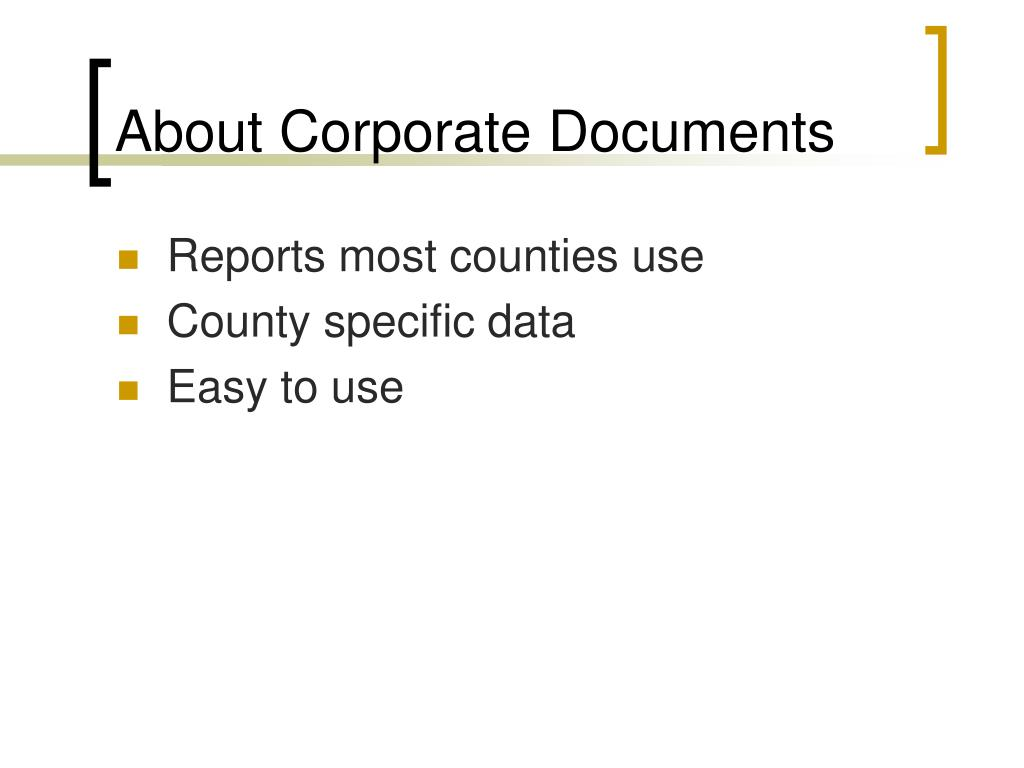 About Corporate Documents