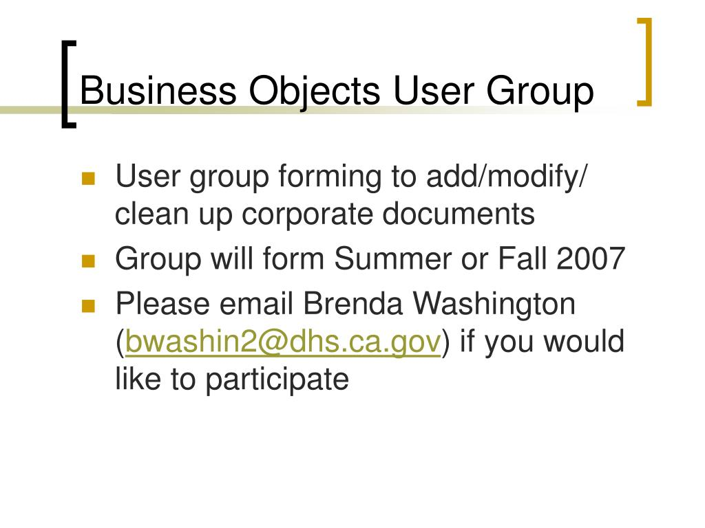 Business Objects User Group