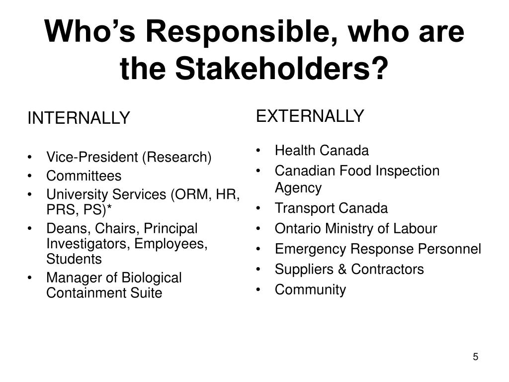 WhoтАЩs Responsible, who are the Stakeholders?