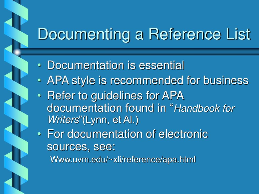 Documenting a Reference List