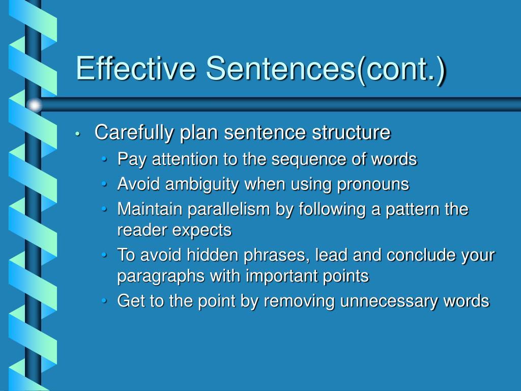 Effective Sentences(cont.)