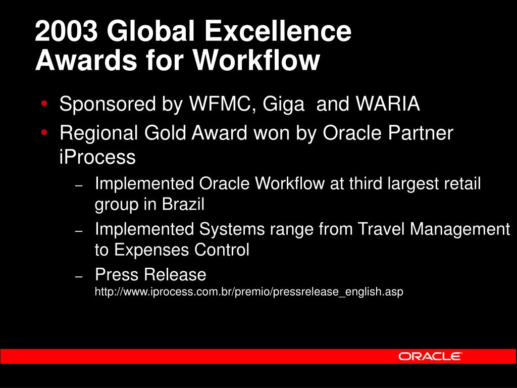 2003 Global Excellence Awards for Workflow