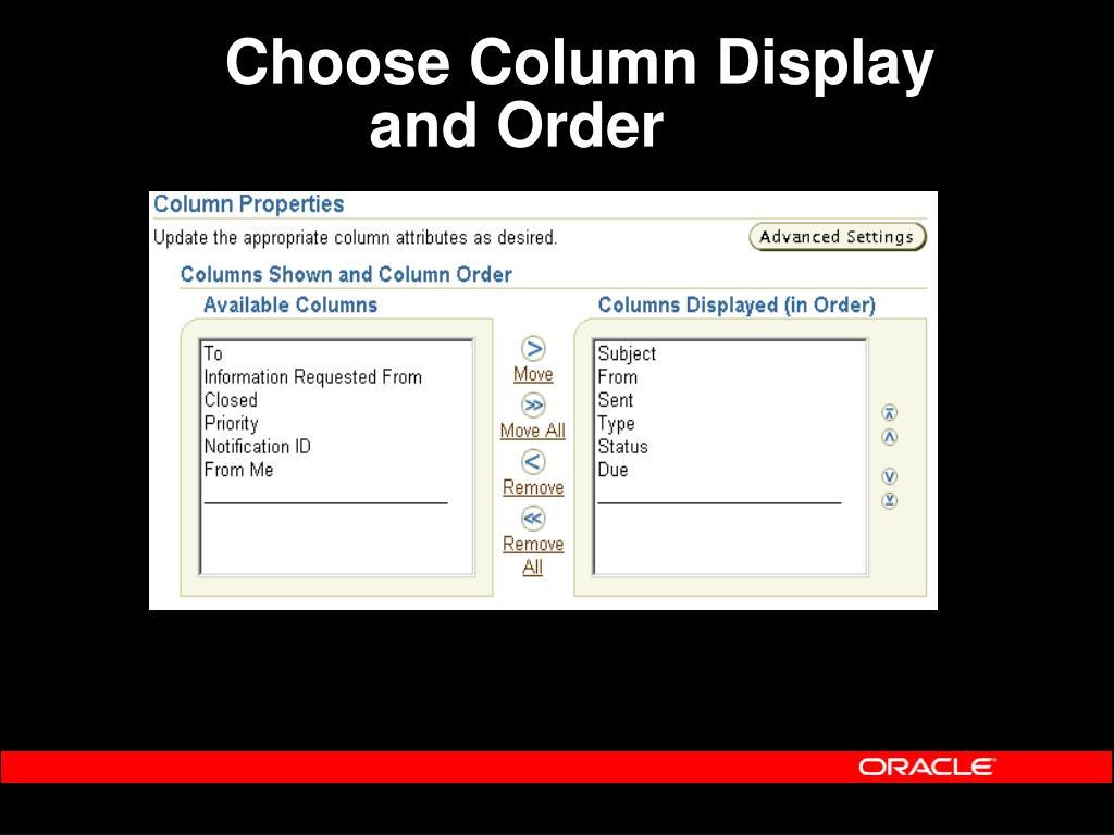 Choose Column Display