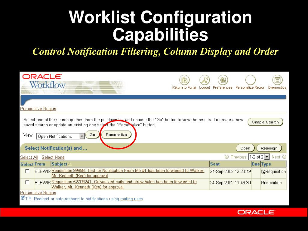 Worklist Configuration Capabilities