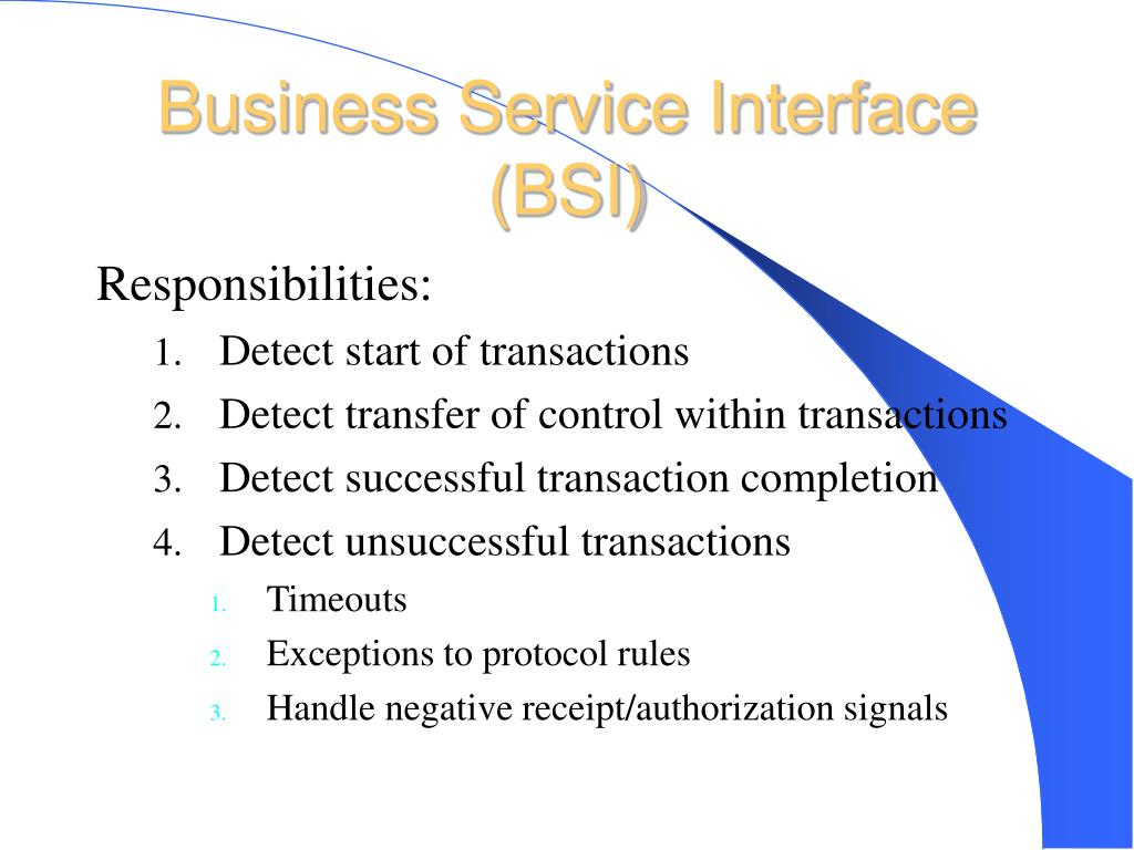 Business Service Interface (BSI)