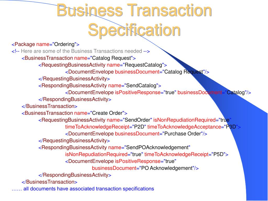 Business Transaction Specification