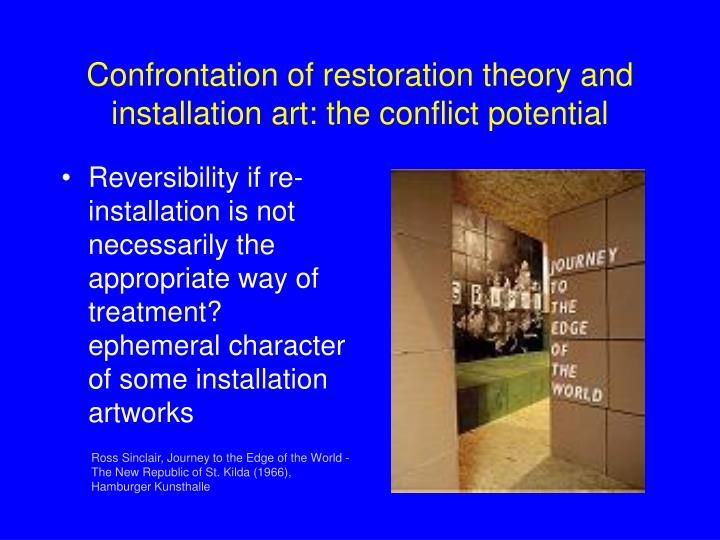 Confrontation of restoration theory and installation art: the conflict potential