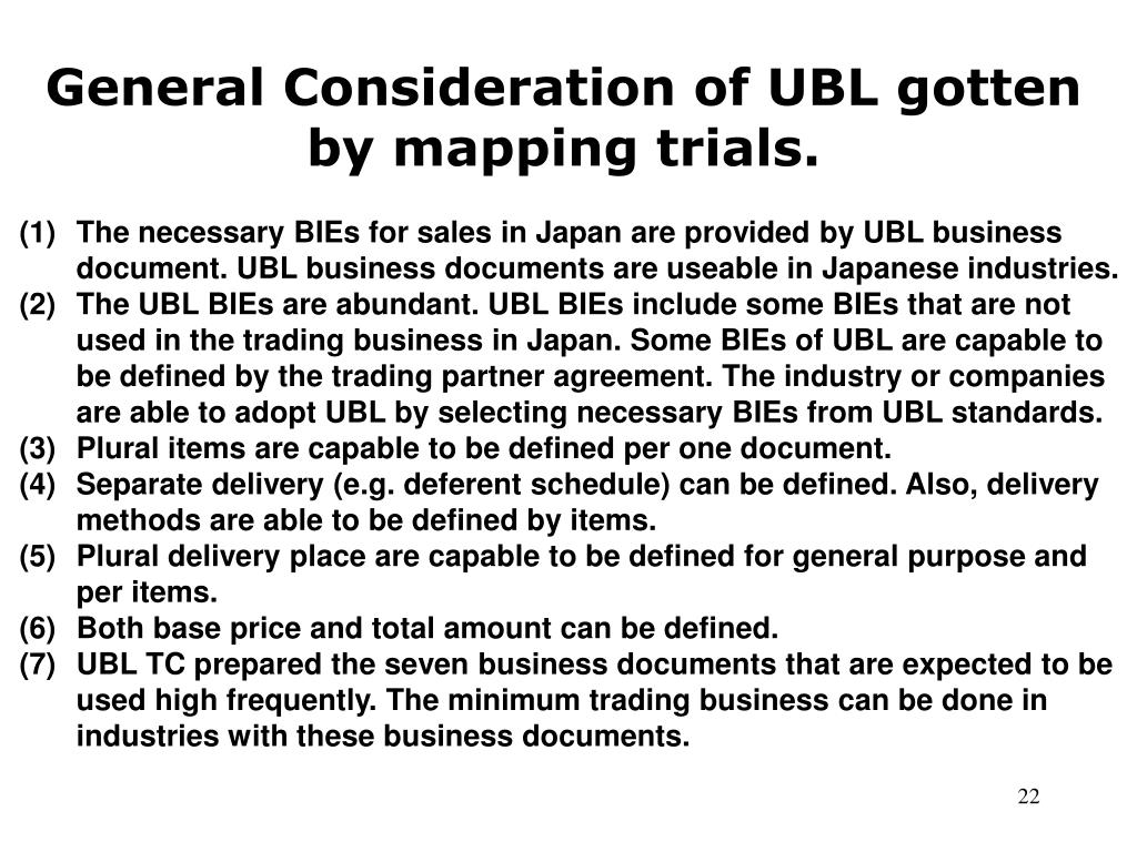 General Consideration of UBL gotten by mapping trials.