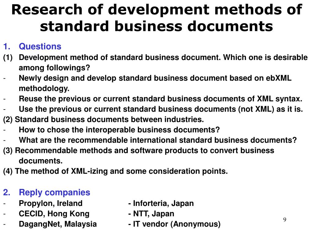 Research of development methods of standard business documents