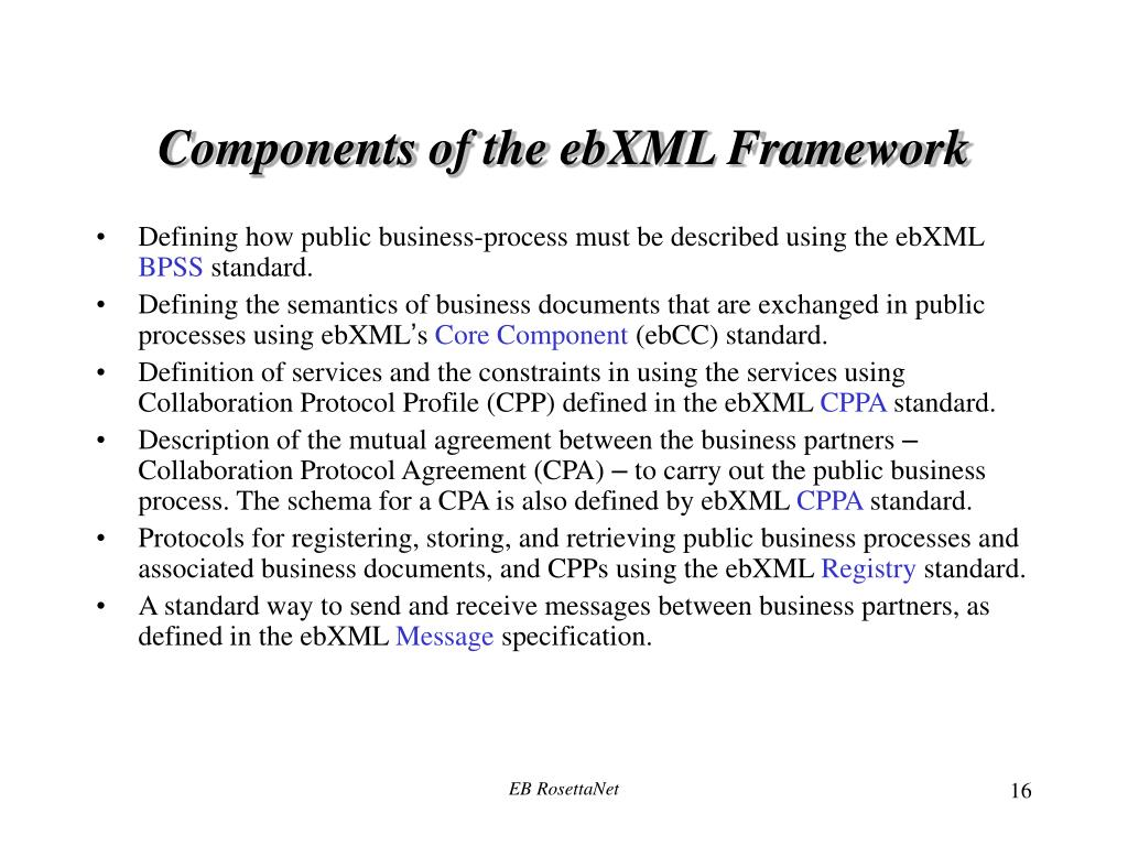Components of the ebXML Framework
