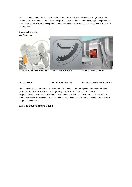Cama equipada con barandillas partidas independientes en polietileno con mando integrados (mandos