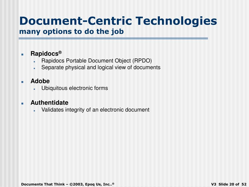 Document-Centric Technologies