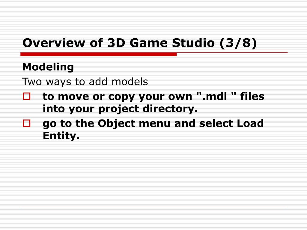 Overview of 3D Game Studio (3/8)
