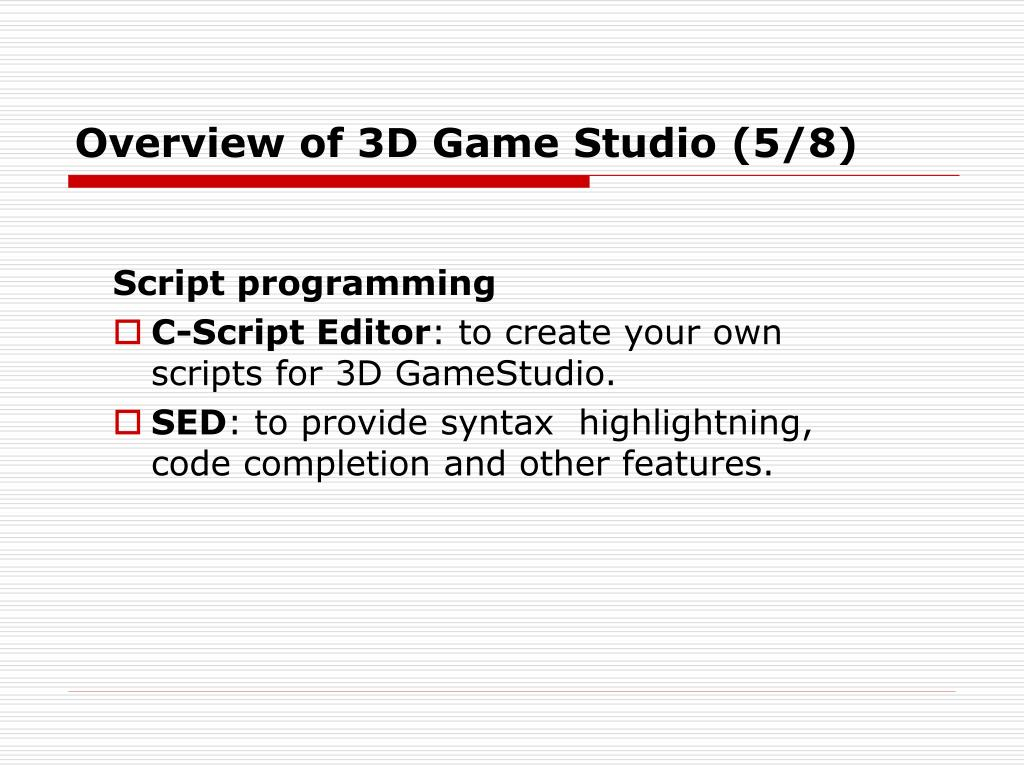 Overview of 3D Game Studio (5/8)