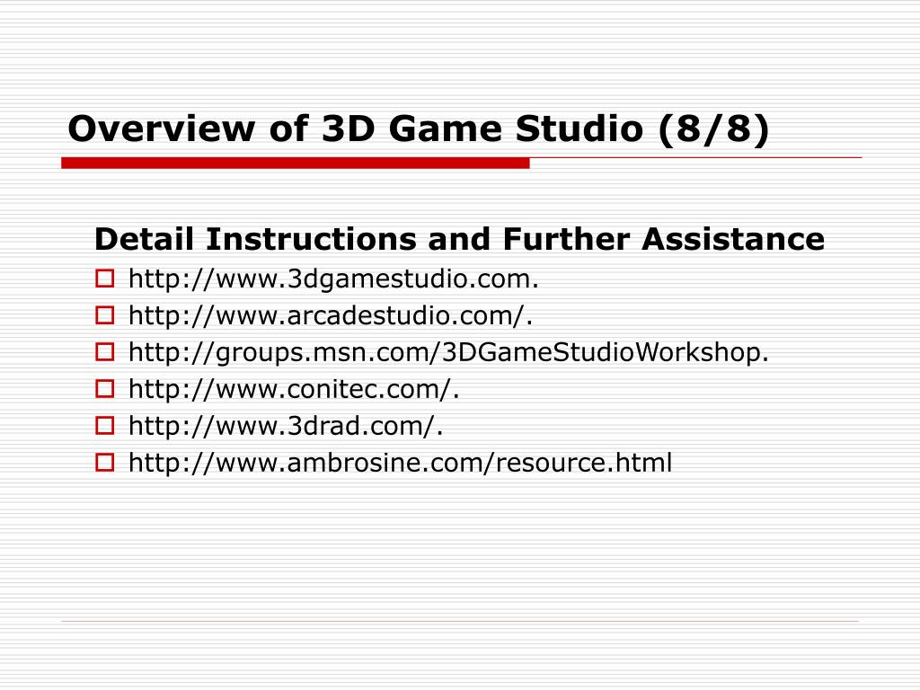 Overview of 3D Game Studio (8/8)