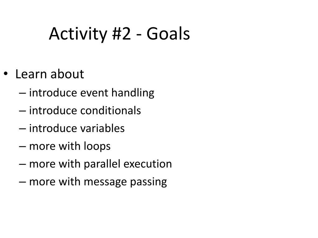 Activity #2 - Goals