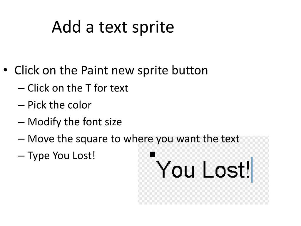 Add a text sprite