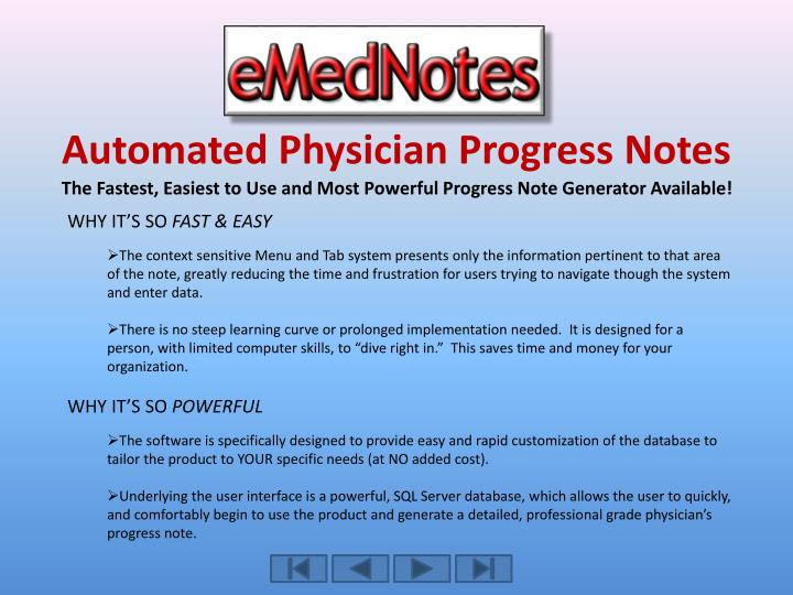Automated Physician Progress Notes