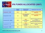 ipa funds allocated 2007